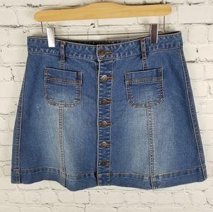 AMERICAN RAG | button up stretch jean denim skirt